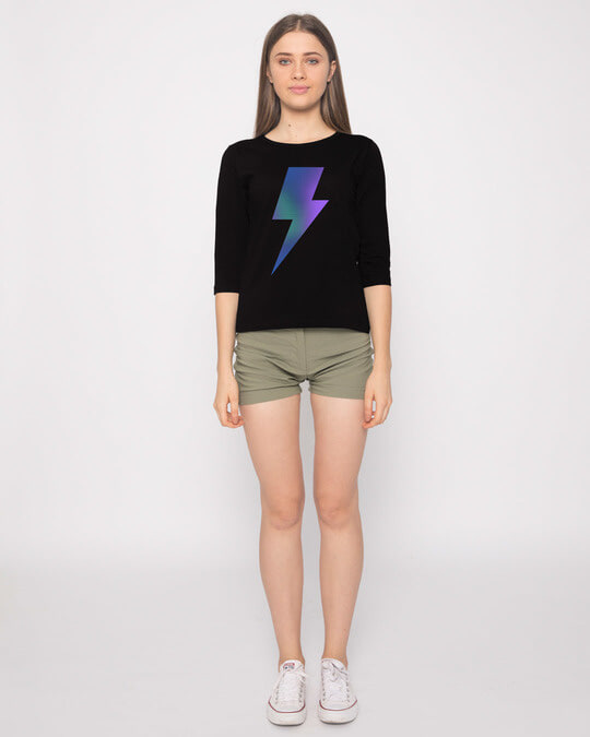 Shop Colorful Bolt Round Neck 3/4th Sleeve T-Shirt-Full