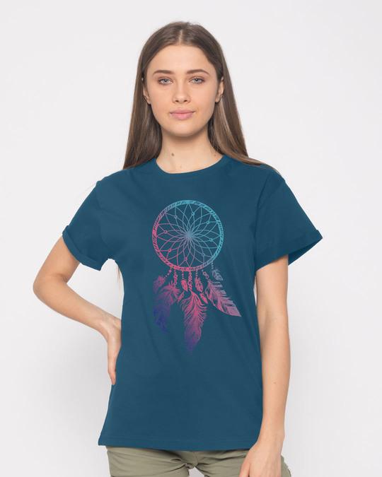 Shop Colorful Dreamcatcher Boyfriend T-Shirt-Front