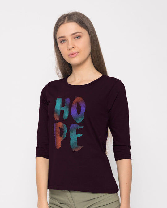 Shop Colorful Hope Round Neck 3/4th Sleeve T-Shirt-Back