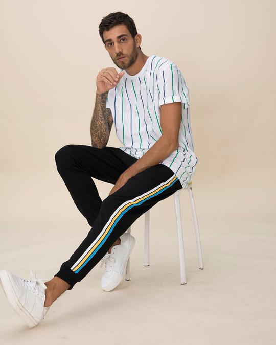Shop Colorful Stripe Fleece Sports Trim Joggers-Full