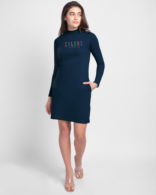 Shop Colors In My Mind High Neck Pocket Dress Navy Blue-Design