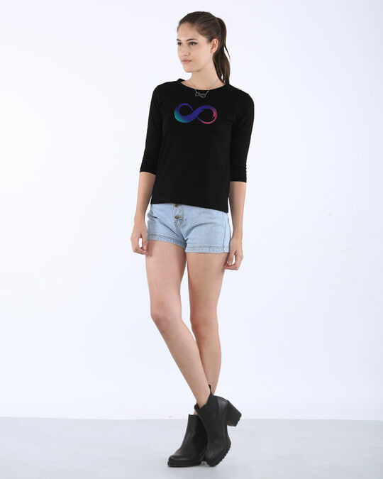 Shop Colors Of Infinity Round Neck 3/4th Sleeve T-Shirt
