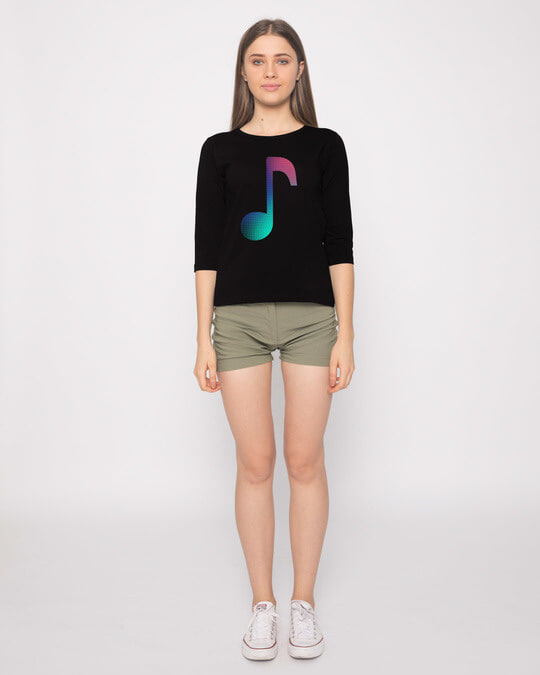 Shop Colors Of Music Round Neck 3/4th Sleeve T-Shirt