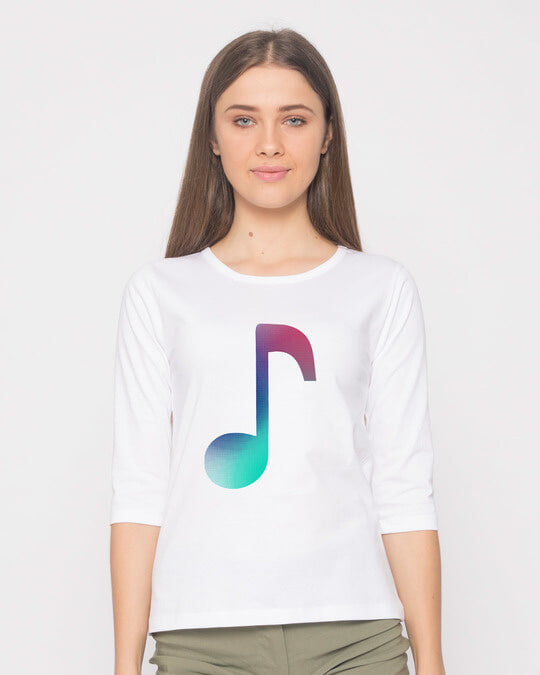 Shop Colors Of Music Round Neck 3/4th Sleeve T-Shirt-Front