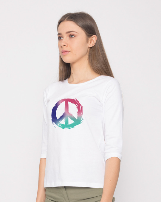Shop Colors Of Peace Round Neck 3/4th Sleeve T-Shirt-Back