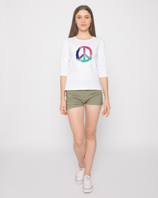 Shop Colors Of Peace Round Neck 3/4th Sleeve T-Shirt