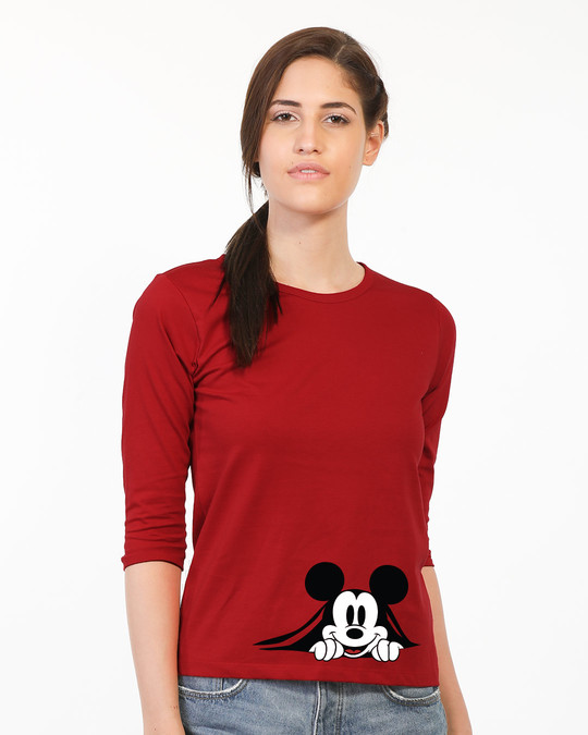 Shop Coming Through Mickey Round Neck 3/4th Sleeve T-Shirt (DL)-Front
