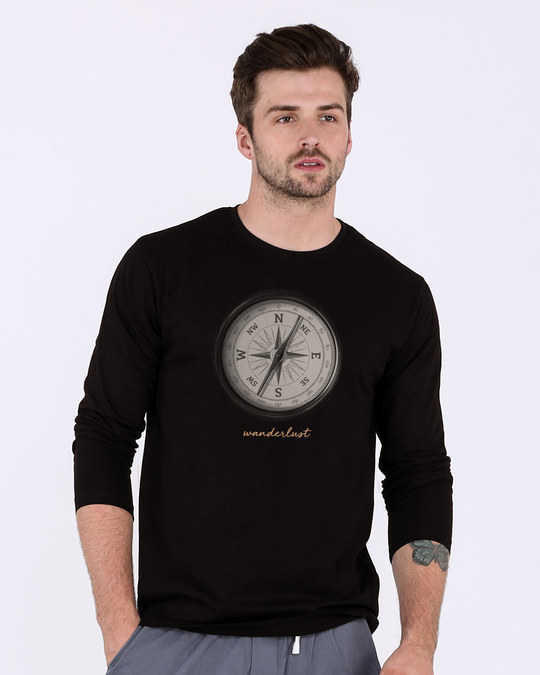 Shop Compass Wanderlust Full Sleeve T-Shirt-Front