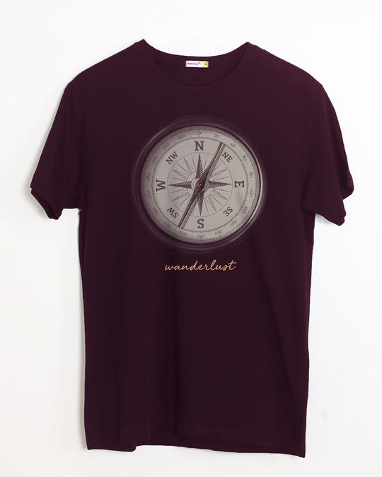 Shop Compass Wanderlust Half Sleeve T-Shirt-Front