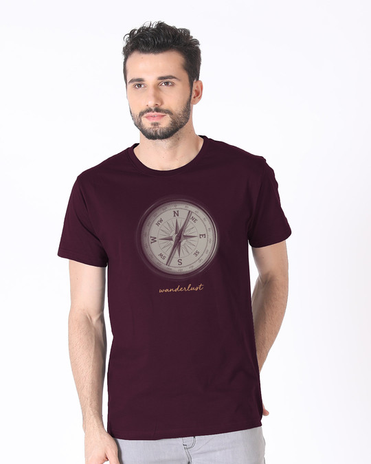 Shop Compass Wanderlust Half Sleeve T-Shirt-Back