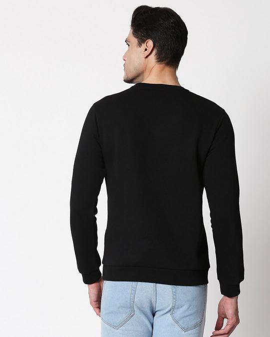 Shop Conquer Strip Fleece Sweater Black-Back