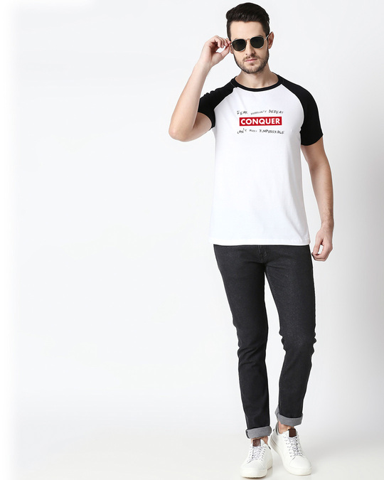 Shop Conquer Strip Half Sleeve Raglan T-Shirt White-Black-Design