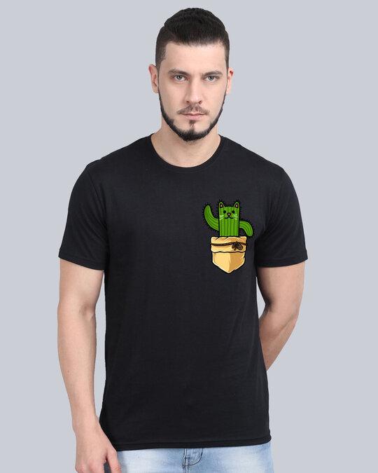 Shop Pocket Design T Shirt Black-Front