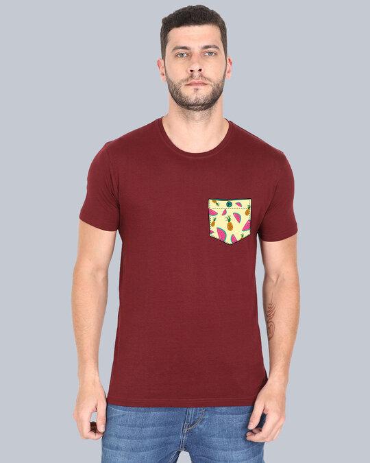 Shop Pocket Design T Shirt Maronn-Front