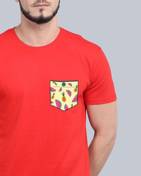Shop Pocket Design T Shirt Red-Design