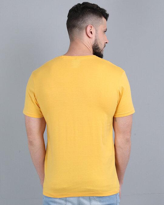 Shop Pocket Design T Shirt Yellow-Back