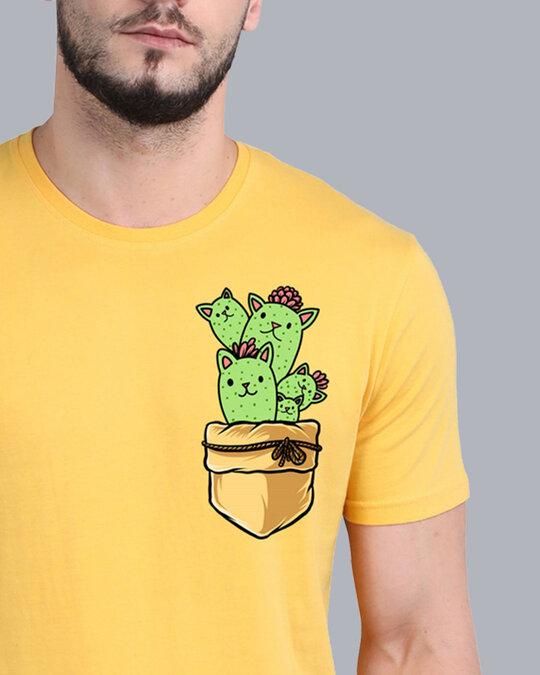Shop Pocket Design T Shirt Yellow-Design