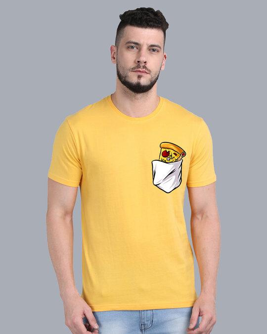 Shop Pocket Design T Shirt Yellow-Front