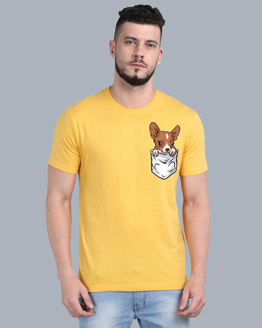 Shop Pocket Design T-Shirt Yellow-Front