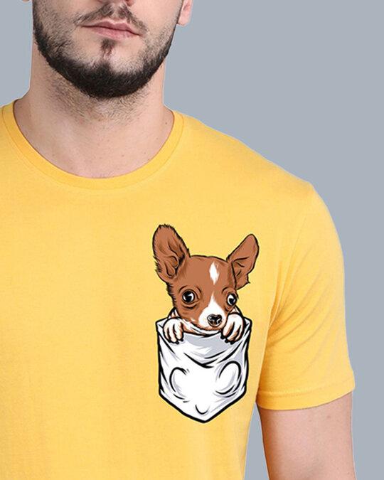 Shop Pocket Design T-Shirt Yellow-Design