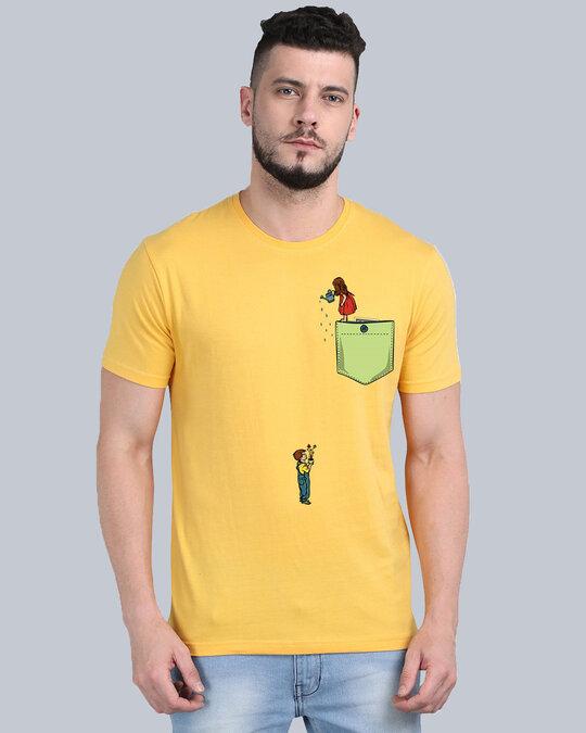 Shop Pocket Design T Shirt Yellow-Full