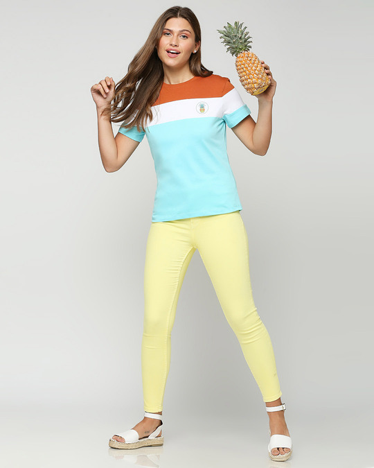 Shop Cool Apple Color Block Printed T-Shirt