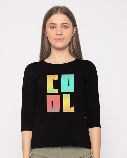 Shop Cool Colorful Round Neck 3/4th Sleeve T-Shirt-Front