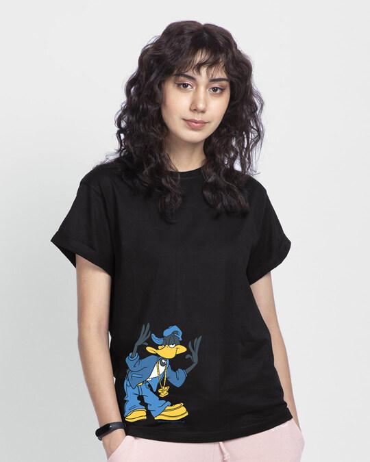 Shop Cool Daffy Boyfriend T-Shirt (LTL) Black-Front