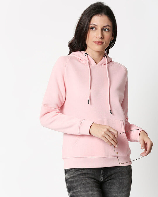Shop Coral Blush Basic Hoodie Sweatshirt-Front