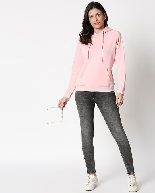 Shop Coral Blush Basic Hoodie Sweatshirt