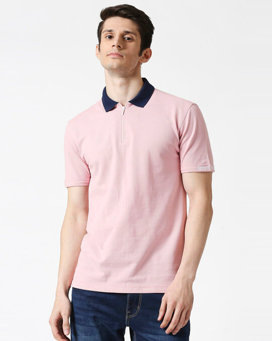Shop Coral Blush Half Sleeve Contrast Zipper Polo-Front