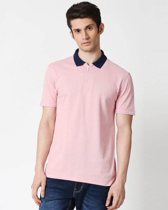 Shop Coral Blush Half Sleeve Contrast Zipper Polo-Back