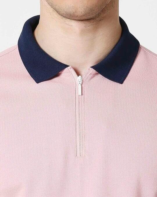 Shop Coral Blush Half Sleeve Contrast Zipper Polo