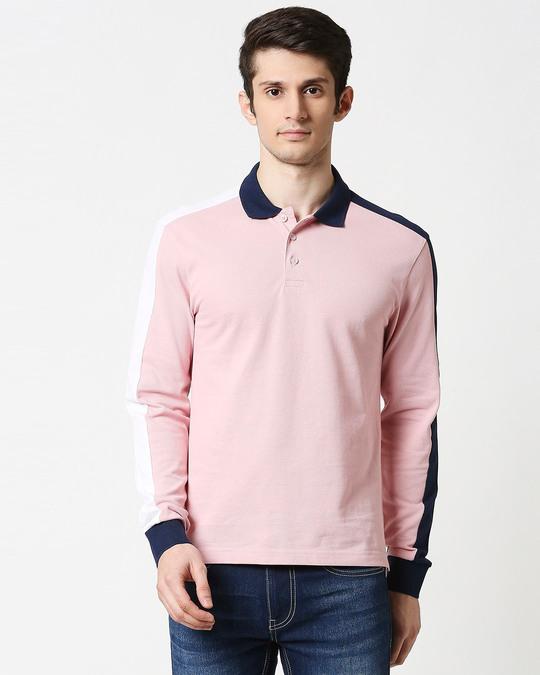 Shop Coral Blush Shoulder Sleeve Cut & Sew Polo-Back