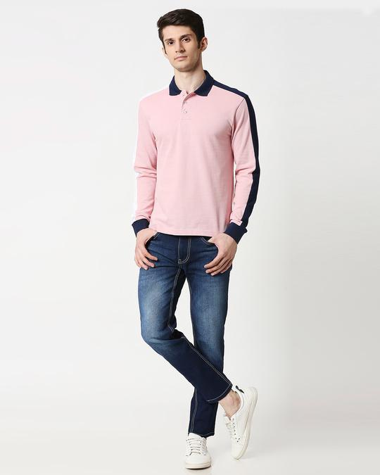 Shop Coral Blush Shoulder Sleeve Cut & Sew Polo
