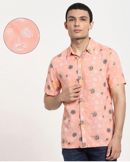 Shop Coral Cloud Floral AOP Half Sleeve Shirt-Front