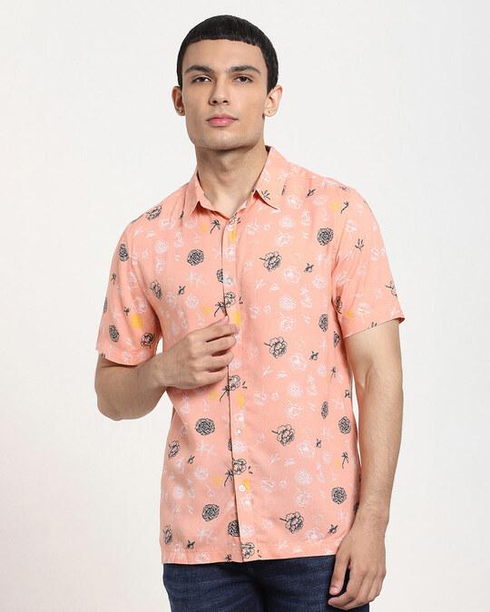 Shop Coral Cloud Floral AOP Half Sleeve Shirt-Back