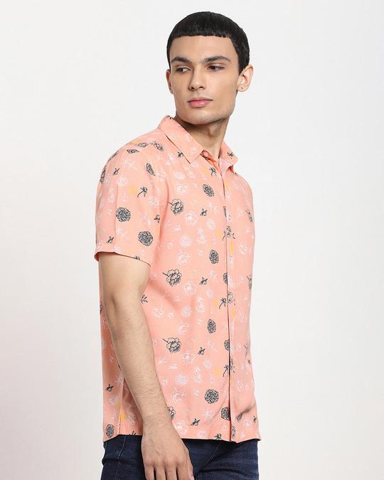 Shop Coral Cloud Floral AOP Half Sleeve Shirt-Design