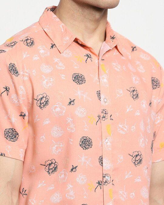 Shop Coral Cloud Floral AOP Half Sleeve Shirt