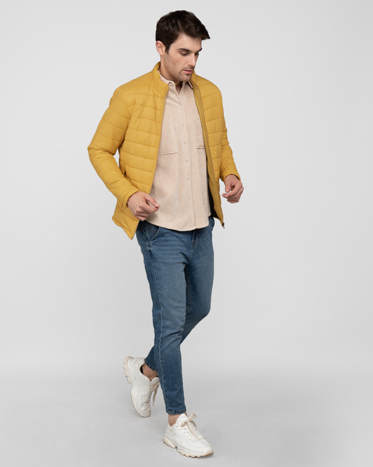 Shop Corn Yellow Plain Puffer Jacket-Full