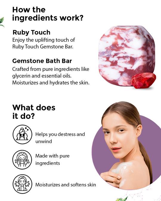 Shop Bathing Combo 3 (Body Wash 200ml, Body Wash 200ml & Ruby Touch Gemstone Bath Bar 160gm)-Full