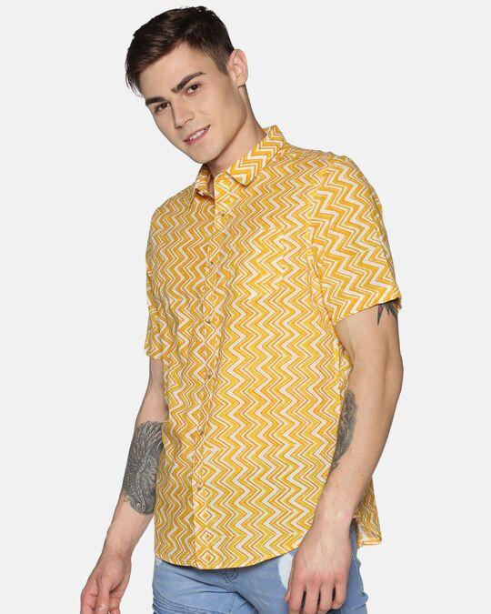Shop Men Short Sleeve Cotton Printed Jaipuri Block Geometric Yellow Shirt-Back