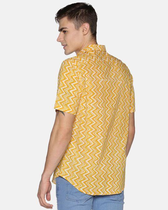 Shop Men Short Sleeve Cotton Printed Jaipuri Block Geometric Yellow Shirt-Design