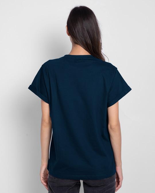 Shop Count Days Boyfriend T-Shirt Navy Blue-Back