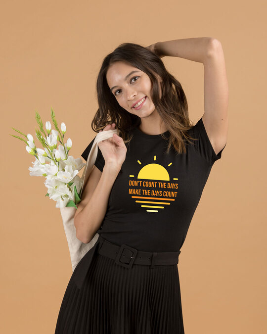 Shop Count Days  Half Sleeve Tshirt Black-Front