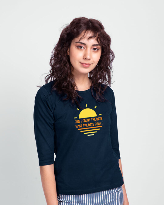 Shop Count Days Round Neck 3/4th Sleeve T-Shirt Navy Blue-Back