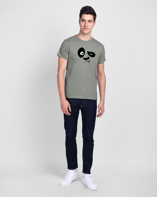 Shop Crazy Panda Half Sleeve T-Shirt Meteor Grey-Full