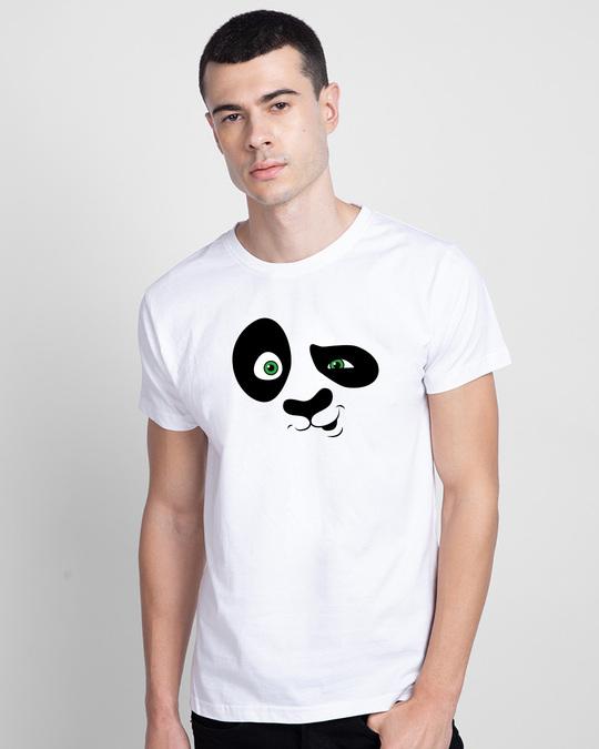 Shop Crazy Panda Half Sleeve T-Shirt White-Back
