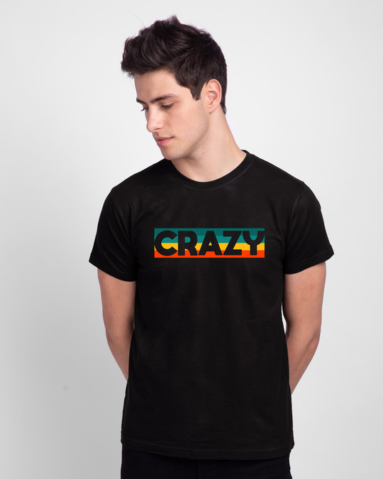 Shop Crazy Retro Half Sleeve T-Shirt-Front