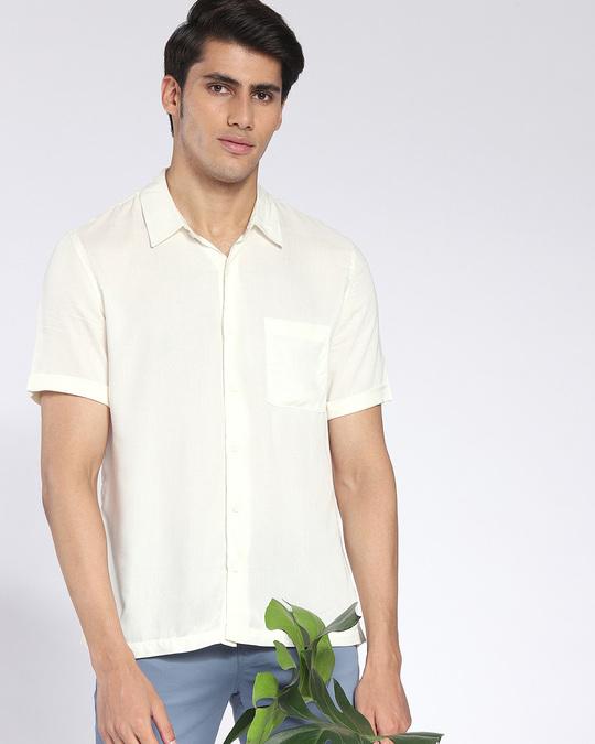 Shop Cream Men's Half Sleeves Shirt-Front